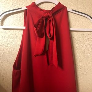 Mod Boutique Red Halter Dress with cut out and bow